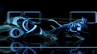Concept image of a futuristic chariot inspired by TRON