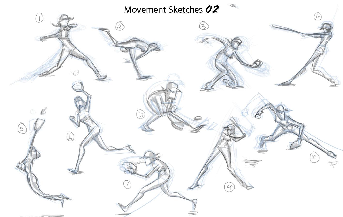 Movement Sketches 02 Baseball Stephanie Tomoana